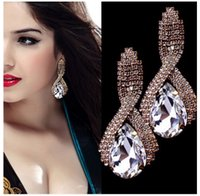 Wholesale European and American fashion diamond crystal teardrop shaped earrings earrings explosion models of foreign trade exports