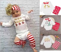 Wholesale New Baby Christmas Pieces Set Christmas Kids Girl Suit Set Snowflake Lucky Deer Tree Print Long Sleeve T shirt socks hairband kid suit