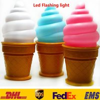 bedroom hair - Novelty Ice Cream Lamp LED Night Light Of Kids New Children Cone Shaped Desk Table Bedroom Lights XMAS Party Festive Decoration HH L03
