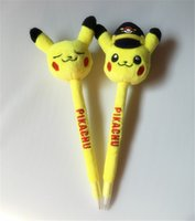 Wholesale Poke Pikachu plush Ballpoint pens styles Plush Novelty Games Toys Children Cartoon Action Anime Pocket Monsters Stuffed Doll Pens XMAS Gift