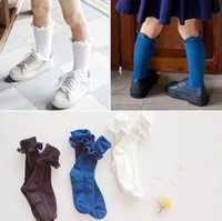 baby white ruffle socks - Fashion new korean children socks baby girls lace ruffle stretch socks kids cotton half socks leg children Stockings white blue gray A8350