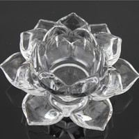 craft candle - Crystal Glass Crafts Nelumbo Nucifera Lotus Candlestick Candle Holders Buddha Lamp Decoration