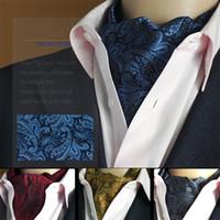 ascot tie pattern - Men Vintage Wedding Formal Cravat Ascot Scrunch Self Ties Gentleman Polyester Silk Scarves Neck Tie Luxury Paisley Pattern
