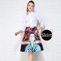 Wholesale Women s Fall Fashion Retro Prints High Waist Pleated Pocket Ball Gown A Line Midi Skirt