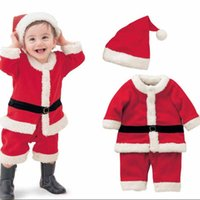 baby boy christmas outfit - Red Christmas Outfit Winter Infant Baby Girls Dress Hats Boys Coat Pants Hats Thick Snow Suit Faxu Fur Velvet Toddler Chidlren Set