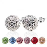 Wholesale 2016 Sparkling Czech Diamond S925 Silver Pure Crystal Earrings Marriage paty wedding Stud earrings diamond crystal ball drill