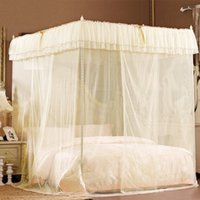 air canopy - Beige Lace Luxury Four Corner Square Princess Bed Canopy Twin XL