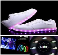 best closing - LED luminous shoes men women flats shoes sneakers USB charging light up sneakers for adults colorful glowing leisure flat shoes best price