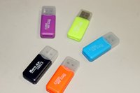 Wholesale New USB T flash memory card reader micro SD card reader Mixed color