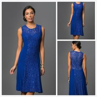 Wholesale Sexy Mother of The Bride Dresses Plus Size Royal Blue Short Mother s Formal Wear Knee Length Chiffon Dress With Lace A Line Brautmutterkleid