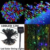 Wholesale 12M LEDS Outdoor Led Christmas Lights Waterproof LED Solar String Light Fairy Lights For Outdoor Garden Party Christmas Tree