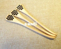 accessories wood carvings - Cute Wood Creative Carving Honey Stirring Honey Spoons Honeycomb Carved Honey Dipper Kitchen Tool Flatware Accessory