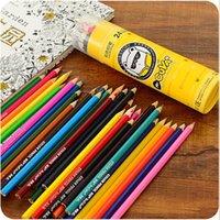 Wholesale 24 colored pencils Wood color pencil set for writing drawing Secret garden Lapis de cor papelaria Office school supplies