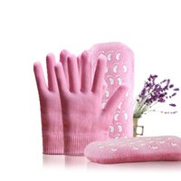 Wholesale 30pairs SPA Gloves pairs SPA Socks Pink Spa Gel Moisturizing Gloves Moisturize Soften Repair Whiten Skin Care Therapy Treatment