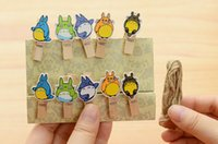 Wholesale N37 Pack of Kawaii My Neighbor Totoro Owl Wooden Bookmarks Clip Photo Paper Craft DIY Clips with Hemp Rope