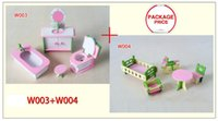 Wholesale W003 W004 set New children gift kids wooden toy Furniture doll house set DIY Educational Toys bathroom and chilren room