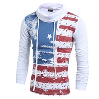 Wholesale Men s Clothing Casual Tshirts Autumn Spring High collar Long Sleeve Print Casual Fashion T Shirts