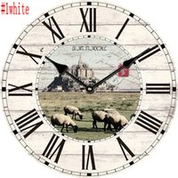 Wholesale cm European Vintage Living Room Wood Wall Digital Quartz Clock Home Decoration