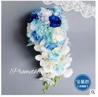 artificial waterfall - Bouquet De Mariee Waterfall bouquet Blue Rose Artificial Bride Hands Holding Calla Flower Wedding Bridal Bouquet