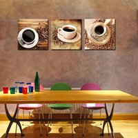 bean table - 3 Picture Combination Canvas Print Wall Art Painting For Home Decor Of A Cup Of Black Coffee And Coffee Beans On Table