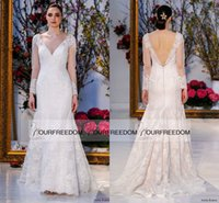 barge pictures - Anne Barge Spring Backless Long Sleeve Wedding Dresses Elegant V Neck For Western Style Full Lace Sweep Train Bridal Gown Custom Made