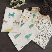 Wholesale 30 cm hemp cotton christmas series placemat cartoon table napkin mats Cotton Printed Napkin JF