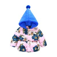 Wholesale 2017 New Fashion girls Down coats winter baby Floral printed Coats thick duck Warm jacket Hooded Thick Parka Children Outerwear MC0395