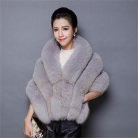 Wholesale Latest fashion Autumn and winter women fur vest coat poncho bridal wedding dress shawl cape luxury Faux mink Fur Coats