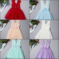 Wholesale Cheap Handmade Clothing - 6 Colors Lovely Cheap Baby Girls Dresses 2016 Tutu Cute Kids Clothing with Handmade Flowers 5PCS Lot Free Shipping Child Dresses