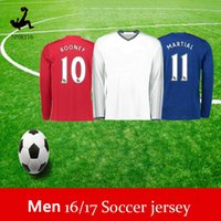 Wholesale Thailand Quality long sleeve Manchesteers Unitedss Jersey Schweinsteiger Rooney mata Memphis POGBA adult soccer Football Shirt