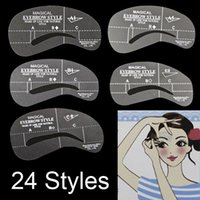 Wholesale 24 Styles Eyebrow Grooming Stencil Kit Template Make Up Shaping Shaper DIY Tools