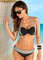 Wholesale 2016 Nueva Sexy Bikinis Mujeres traje de Baño de Talle Alto de Los Bañadores de Natación Halter Top Push Up Bikini Set Beach Plus Tamaño XXX