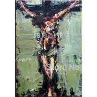 abstract jesus - hand painted Jesus oil painting Christ good Friday canvas wall art abstract religion canvas picture Jesus on the cross prayer oil paintings