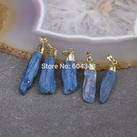 beads natural kyanite - P5 Natural Kyanite Gem stone Pendant Beads Gold Plated Blue Kyanite Druzy Pendants For Jewelry Making