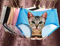 Wholesale Ladies Underwear Cute D Cat Panties Sexy Mid Waist Underwear Comfort Briefs Animal Panties For Women Nylon Panties Gifts D711