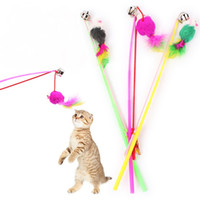 Wholesale Pet cat toy Cute Design Steel Wire Feather Teaser Wand Plastic Toy for cats WA0674