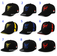 Wholesale 44 Style Poke go Pikachu Hat Cap DHL Adult Mesh Cartoon Instinc Mystic Valor Instinct camp Logo Mesh baseball hockey Ball Hats B001