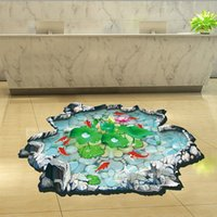 art glass for floor - 3 d hot style removable wall stickers bathroom sitting room adornment wall Lotus pond fish floor stick