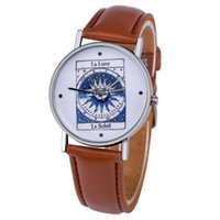 Wholesale Icon fashion BLINK Acrylic Ecliptic unisex mens womens leather watch ladies quartz wrist for men