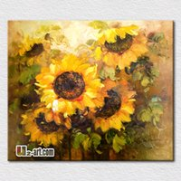 beautiful wall hangings - Beautiful sunflowers oil painting hot sell modern canvas pictures for bedroom decoration wall hangings