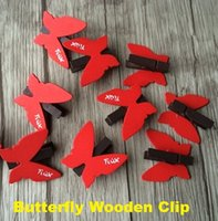 Wholesale Freeshipping New Cute Red Butterfly design Wooden Clip Mini Bag Paper wood peg Clip Christmas DIY tools Fashion Special Gift