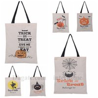 Wholesale Halloween Canvas Drawstring Bag Pumpkin Monogramable Totes Printed Halloween Gifts Sack Bag Devil Spider Candy Shopping Bag Handbag B1007