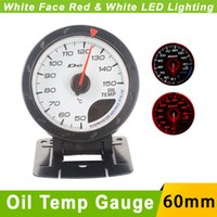Wholesale Oil Temp Gauge mm Car D fi CR Advance Oil Temperature Gauge With Sensor White Face LED Auto Gauge Car Meter Oil Temp Gauge
