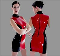 Wholesale Sexy Women Stretch PVC Bodysuit Mini Dress Vintage Leather Latex Catsuit Wetlook Clothes Clubwear Costume Qipao Style S XXL