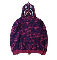 bape camo - 2016 Autumn Winter Men Women Shark Head Printing Camo Hoodies Loves Cardigan Fleece Sport Sweatshirts Coat