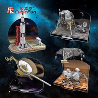 Cheap Cubicfun 3D paper model DIY toy birthday gift puzzle discover the secrets of space aviation Rocket satellite