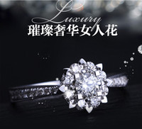 Wholesale Pure White plated ring AAA CZ Diamond Luxury Engagement Wedding snow Rings For Women size fashion jewelry