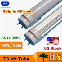 bright white leds - US STOCK G13 ft W Led T8 Tube Lights SMD2835 Leds High Bright light lm V fluorescent lighting