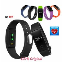 Wholesale ID107 Bluetooth Smart Bracelet smart band Heart Rate Monitor Wristband Fitness Tracker remote camera for Android iOS Free DHL Shipping