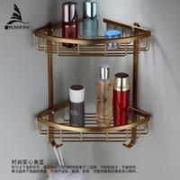 Wholesale Wall Mounted Antique finish NEW aluminum Bathroom Shower shampoo Shelf Basket Holder Fashion Double Layer MJ